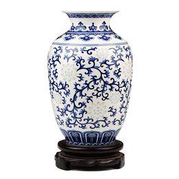 Vase bleu chinois en Ligne-Jingdezhen Riz-modèle En Porcelaine De Chine Vase Antique En Os Bleu Et Blanc Chine Décoré De Vase En Céramique