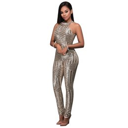 Frauen pailletten overalls online-Pailletten Jumpsuits High-End-Custom Gold Strampler Frauen Sparkly Jumpsuit Einteiler Herbst Damen Langhülse Hohe Stretch Party Club