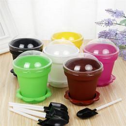 Copos de mousse on-line-Planta em vaso de bolo copo originalidade flowerpot mousse de sorvete envasamento copos com tampa pá pote de bolos 0 75jm gg