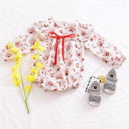 manga longa floral laço romper Desconto Roupa do bebê do Ins Roupa de bebé doce Romper manga comprida Lace 2019 Boutique Primavera