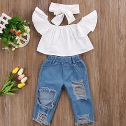 Chicas lindas jeans online-Cute Baby Girls Nueva Moda Niños Niñas Ropa fuera del hombro Crop Tops Blanco + Agujero Denim Pant Jean + Diadema 3pcs / set