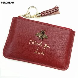 cowhide purses wholesale Coupons - PERDREAM Cowhide European Woman Wallet Luxury Design Bee Decoration Coin Purses Litchi Ribbon Ring Key Holder Mini Card Holder
