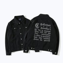 Wholesale Ring Jackets - Wholesale Free Shipping Men Hip Hop High Street Loose Black Metal Ring Ripped Hole Letter Embroidery Denim Jacket Coat