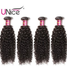 Wholesale indian remy curls - UNice Hair Wholesale 4 Bundles Virgin Human Hair Indian Curly Wave Bundle Brazilian Curl Hair Weaves Nice Bulk Peruvian Cheap Remy Wefts