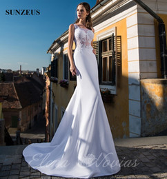Wholesale Satin Dressing Gowns Women China - White Mermaid Wedding Gowns 2018 Sheer Bodice With Appliques Bridal Dresses Sexy Long Women Marriage Dress For Wedding China Free Shipping