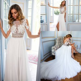 Wholesale Gold Beading Backless Dress - Stunning 2018 Beach Bohemian Wedding Dresses Sheer Long Sleeve Lace Vestidos de Novia Side Split Summer Wedding Gowns Bridal Dress