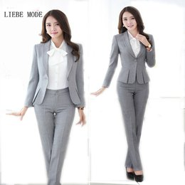 Wholesale Women Dresses Blazers - Wholesale-Womens Formal Work Suit Pants Black Grey Ladies Career Dress Suit Set Blazers and Pants Plus Size Uniform Pantsuits S-3XL 4XL