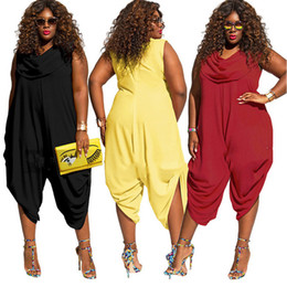 155193a4df4 Plus size women jumpsuit romper 2018 sleeveless sexy summer loose pant wide  leg casual harem party playsuit outfit overalls hot