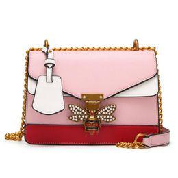 Wholesale Synthetic Leather Handbags Wholesale - Hot seller splicing Little bee Bags Fashion Zipper Designer Handbag Casual Shoulder Messenger Bag many colors by dhl