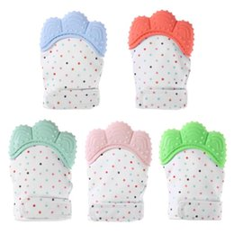Wholesale Infant Silicone - Silicone Teether Baby Glove Baby Teething Mitts Newborn Nursing Mittens Teether Chewable Nursing Beads for Infant Baby Windproof Natural Th