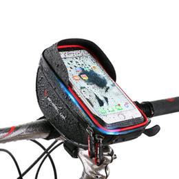 чехол для велосипедной сумки Скидка Bicycle Bag Waterproof Cycling Bike Frame Phone Bag Holder Smartphone & GPS Touch Screen Case For 6 Inch Phone