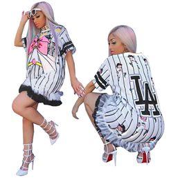 3467f2cffa31 Cartoon Girls Letter Bowknot Print Pinstripe Dress for Women Short Sleeve  Ruffle Hem Loose Casual Mini Dress Club Outfit