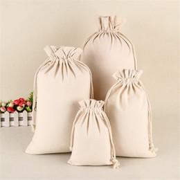 Canvas drawstring bags packaging online-Sacchetto di immagazzinaggio con cordoncino di Natale bianco Sacco di tela di canapa di cotone per i regali di vino caramelle Sacchetto di sacchi di gioielli Sacchi di gioielli in vendita