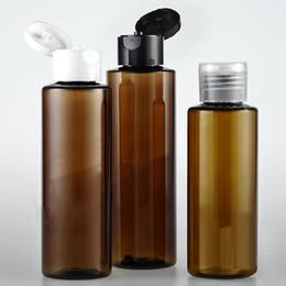 frascos de shampoo de plástico marrom Desconto Atacado 50 pçs / lote 100/120/150 ml brown flip top tampa de garrafa de plástico loção Cosmética creme PET recipiente de viagem shampoo garrafas com tampa