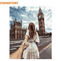 Wholesale Modern Romantic Paintings - CHENISTORY Romantic Hand In Hand DIY Painting By Numbers Modern Wall Art Handpainted Oil Painting For Wedding Decoration 40x50cm