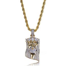 Мода Медно-Золотой Цвет Позолоченный Iced Out Иисус Лицо Ожерелье Micro Pave Большой CZ Камень Хип-Хоп Bling Ювелирные Изделия от