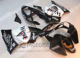 Carrocería de inyección 3Gifts para KAWASAKI NINJA ZX6R 2000 2001 2002 Blanco negro WEST ZX-6R ZX 6R 636 00 01 02 carenados kits # 2137A desde fabricantes