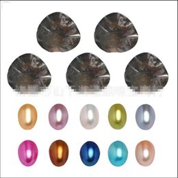 Wholesale Holiday Gift Packaging - Oval Oyster Pearl 2018 new 7-8mm 20 mix color Fresh water Natural pearl Gift DIY Loose Decorations Vacuum Packaging Wholesale free shipping