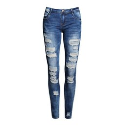 Jeans desgastados de mujer online-Ripped Fashion Low Waist Distressed Jeans New Ladies Cotton Denim Pants Stretch Womens Ripped Skinny Denim Jeans para mujer