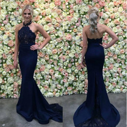 navy blue occasion dresses women Coupons - Chic Navy Blue Lace Evening Dresses Mermaid Halter Sleeveless Sweep Train Evening Gowns Formal Women Special Occasion Party Prom Dress Cheap