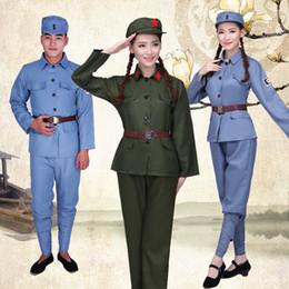 Funcionamiento del Ejército Rojo Verde Octava Ruta Liberación de guerra del ejército de hombres y mujeres Disfraces de la Guardia Roja uniformes de baile trajes de coro desde fabricantes