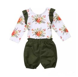 Wholesale girls floral shirts - 1-6T Girls floral outfits 2pc sets flower long sleeve flouncing T shirt+green bloomers simple style kids casual fashion floral clothing B11