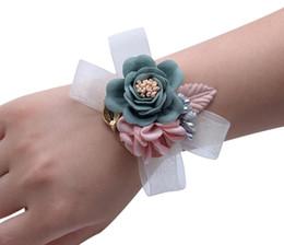 prom blumen armbänder Rabatt Armband Hand Blumen Hochzeit Prom Party Braut Dekoration Blume für Braut Schwestern Hochzeit Birthday Party Supplies