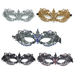 Decorazioni natalizie di strass online-5 Colors Lace Rhinestone Halloween Half Face Mask Party Decoration Masquerade Masks Craft Supplies Party Supplie Christmas Gifts Event Decor