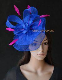 a4d5b7d0245 Royal blue Sinamay fascinator hat Feather fascinator for Wedding kentucky  derby ascot races. Supplier  gongqiuli