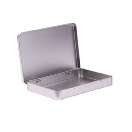 Caja de la joyería de la lata online-80 unids Caja de Metal de Estaño Postal de la Foto Gran Rectángulo Classic Silver Jewelry Holder Caja de Almacenamiento 160 * 112 * 20mm Envío Gratis wen5480 20180920 #