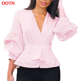 Wholesale Women Woven Shirts - OOTN Lantern Sleeve Peplum Tunic Blouse Women Long Sleeve Ruffled Pink Shirts 2017 Autumn Winter Woven Blouses V-Neck Sexy Tops