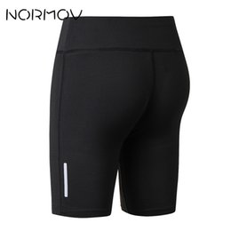 Wholesale reflective running pants - NORMOV Tight Sport Shorts Women Fitness Clothing Surf Running Yoga Shorts Reflective Solid Athletic High Waist 8 Color
