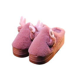 35ada5e8201c Cotton slippers female cute cartoon high-heeled home household indoor  non-slip thickening bottom plush warm month cotton shoes
