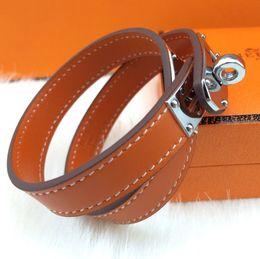 Wholesale Double Bracelet Gold - jewelry wholesale double leather bracelet fashion leather H round buckle bracelet (cross pattern - plain choice)