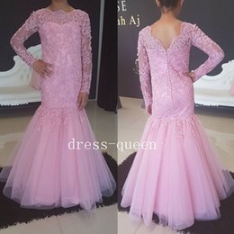 Wholesale Orange Sweetheart Neckline Dresses - New Mermaid Flower Girls Dresses for Weddings Lace Tulle Little Girls Formal Gowns Beaded Neckline Corset Back Floor Length