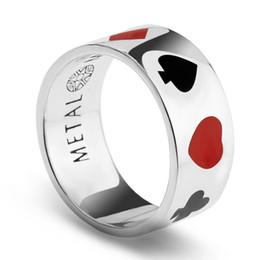 Kühle silberne ringe für männer online-New Style Classic Cool Herrenschmuck Authentic 100% 925 Sterling Silber Ring Schwarz und rot Emaille Poker Ring für Liebhaber