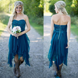 Wholesale cheap teal bridesmaid dresses - 2017 Cheap Chiffon Country Short Lace Appliques Bridesmaid Dresses Teal Summer Beach Bridesmaid Dresses High Low Wedding Party Gowns