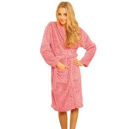 52c0315694 New Women Autumn and winter flannel pajamas Coral Fleece Long Night-robe  Sleepwear Shawl Collar Bathrobe Spa Robes purple fleece robe for sale