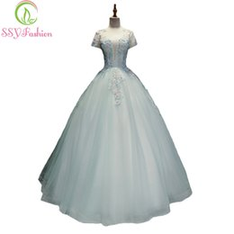 Wholesale Fresh Arts - SSYFashion New Sweet Fresh Light Blue Lace Flower Prom Dress The Banquet Romance Appliques Beading A-line Long Formal Party Gown