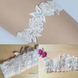 Argentina Liga nupcial de encaje de lujo, algo azul perla, novia de boda con cuentas de flores Suministro