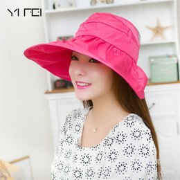 4995171cc6f YIFEI Women s Summer Sun Beach Hats Lady Wide Brim Hat Foldable Roll Up  Floppy Solid Visor Caps Sun hats UV proof Cap outdoor