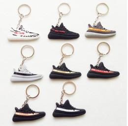 Wholesale shoes key chain ring - Mini Silicone BOOST 350 V2 Shoes Keychain Bag Charm Woman Men Kids Key Ring Key Holder Gift SPLY-350 Sneaker Key Chain