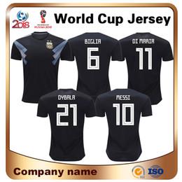 Wholesale argentina football shirt soccer - Maillot De Foot Sale Argentina 10 Messi Football Shirt 2018 World Cup Away Black Short Sleeved Soccer Jersey Aguero Di Maria Dibala Uniform