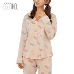 2018 Woman Pajama Set Cure Lovely Pyjamas Bowknot Female Home Wear Sleep  Clothing Night Suit For Woman 100% Cotton Autumn Winter 6ec014e61