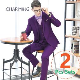 Wholesale Men S Wedding Suit Back - Men suits purple color Business suits for men's designer suit s Wedding men's fashion suits 2 piece suit s for mens (jacket + pants)