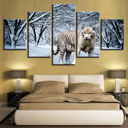 Wholesale Interior Wall Paintings Pictures - 5 Pieces Snow Forest Tiger Painting HD Canvas Print Wall Art Group Picture For Drawing Room Home Decor Interior Poster Unframed