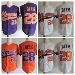 Wholesale Beer Baseball - 2018 NCAA ACC Clemson Tigers #28 Seth Beer College Baseball Jersey #7 Jack Leggett #14 Khalil Greene Jersey Stitched