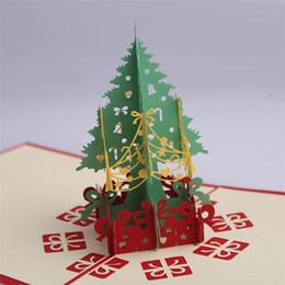 Cartoline postali d'epoca online-2 biglietti di auguri di Natale di design a mano 3D pop-up albero di natale biglietti di auguri cartoline regalo di Natale Vintage Retro Pierced Post Card