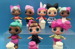 Wholesale Dolls American Girl - New 8 pcs  Lot LOL Surprise Doll with feeding bottle American PVC Kawaii Children Toys Anime Action Figures Realistic Reborn Dolls WD501