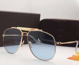 Wholesale Eyewear Aviator - Designer Connor 02 TF 557 Aviator Sunglasses Gold Blue Fashion Brand Sunglasses uv protection eyewear New with Box